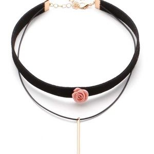 Pink Rose and Gold Charm Double Choker NWT